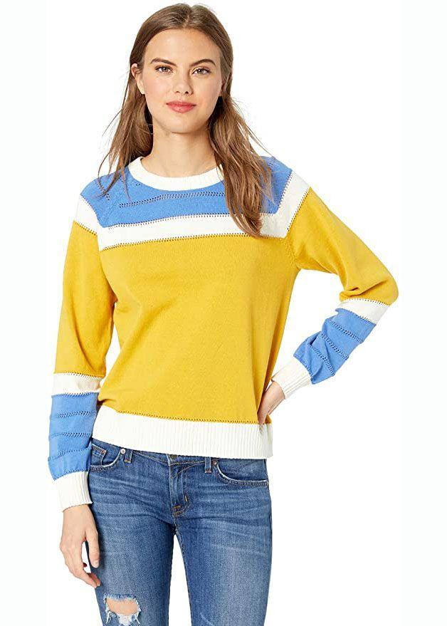 Kasten-Pullover mit Farbblock-Design