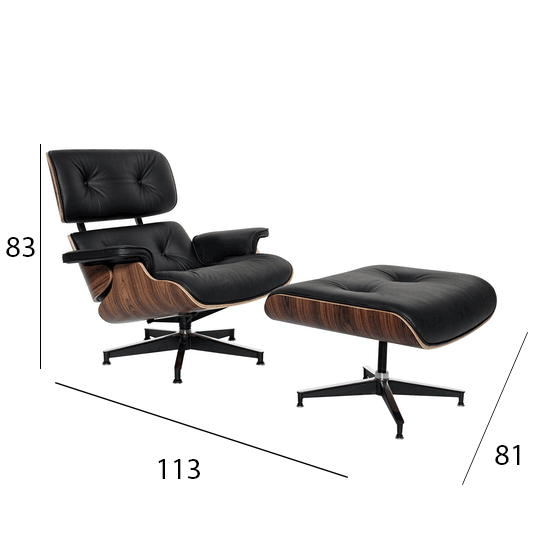 eames lounge chair and ottoman black genuine cowhide