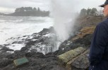 """""""It's definitely some weird weather"""" 60 feet high waves (almost 20 metres) pound the Oregon Coast smashing windows and damaging buildings"""