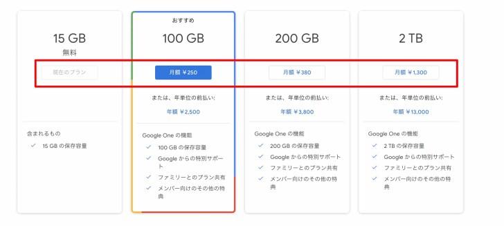 15GB以上の保存容量にしたいのであれば有料