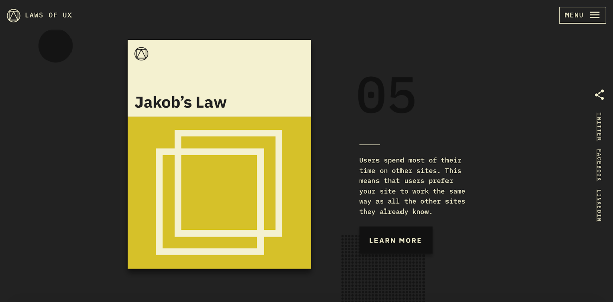 """A landing page for Jakob's Law, its standard layout reflecting the law's premise. The blurb text reads, """"Users spend most of their time on other sites. this means that users prefer your site to work the same way as all the other sites they already know."""""""