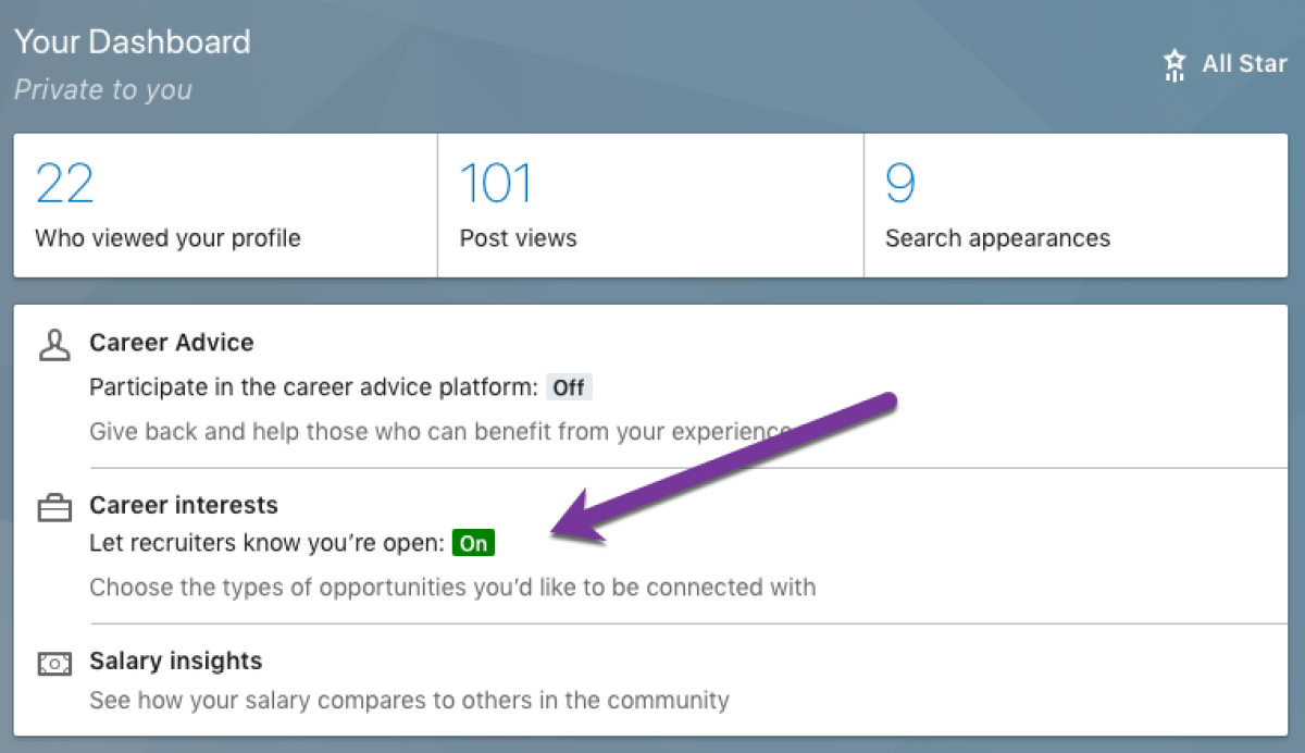 LinkedIn private dashboard
