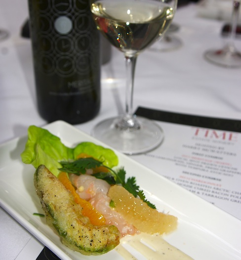 Time Estate Winery 2012 White Meritage paired beautifully with Brix Restaurant's Spot Prawn Ceviche, Tim Pawsey photo