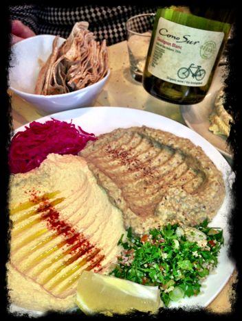 My 'breakfast' and wine ... Nuba's superb baba ghanouj with Cono Sur organic Sauv Blanc