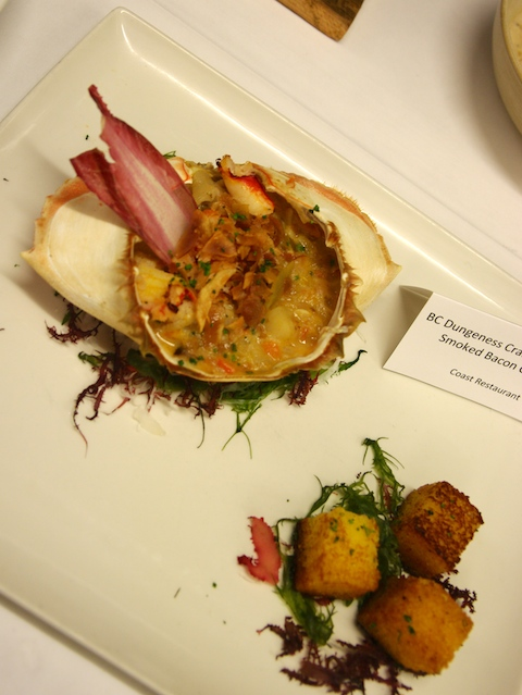 Coast Restaurant's Dungeness crab chowder with artichokes and sunchokes, chef Hiro Amano