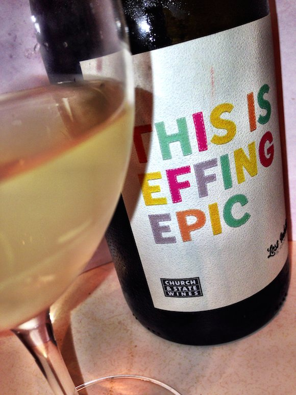 #LostInhibitions EFFING EPIC wine label and glass partial