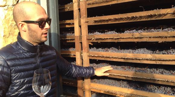 Nicola Scienza of Rubella Vajol, in Valpolicella, explains traditional Appassimento drying racks