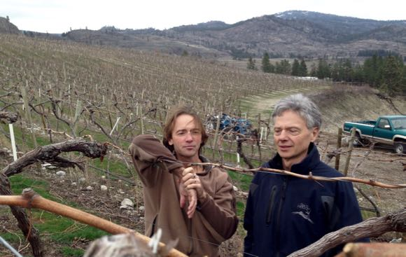 Dwight Sick (l) and Larry Pruegger in the home vineyard