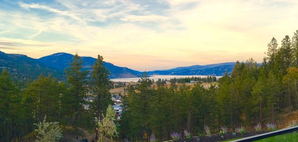 The view at twilight, looking north up Lake Okanagan, from Indigenous World