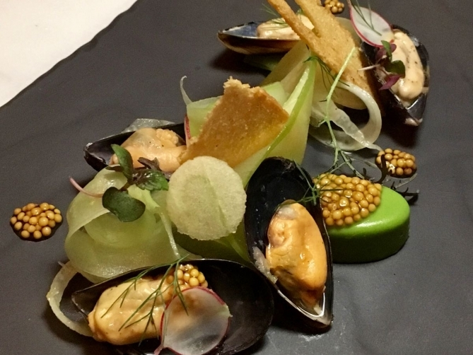 Irresistible, beautifully presented marinated BC mussels with fennel panna cotta, at Boulevard