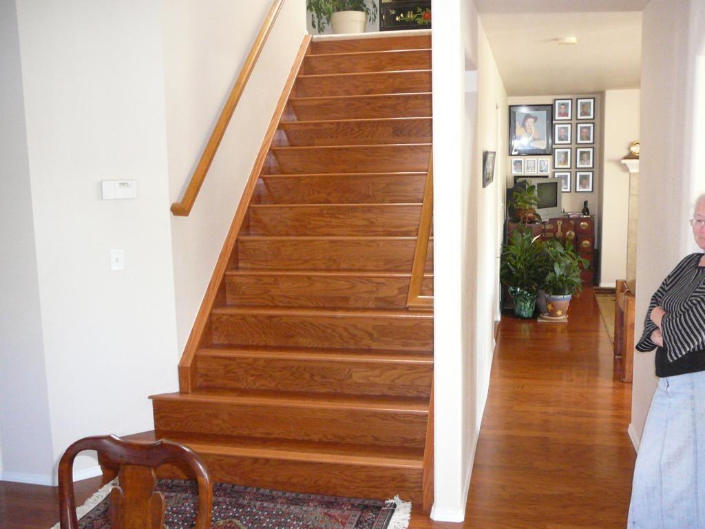 Stairs Custom Built Handyman Remodel Colorado Springs | Bruce Hardwood Stair Treads | Trim | Autumn Glen | Plywood | Red Oak | Nose Molding