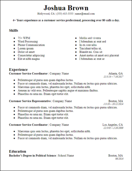 Free Professional Summary Resume Templates For Download Hirepowers Net