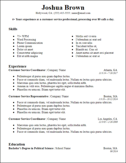 Bolded Professional Summary Resume Template