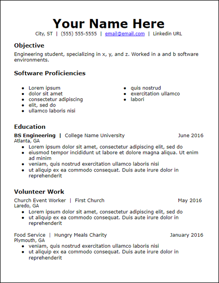 objective skills education volunteer no experience resume