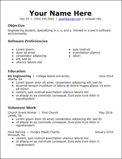 Resume For People With No Experience