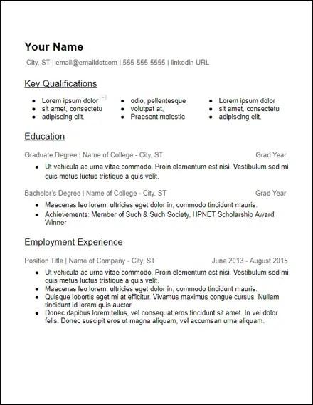 3 column skills education resume template
