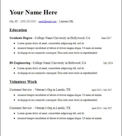 Education Based Grad School No Experience Resume Description