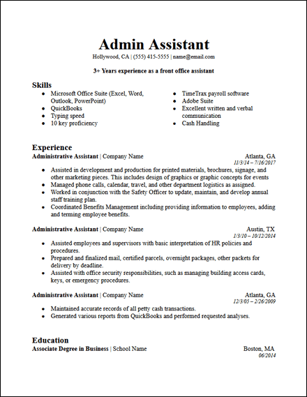 office administrative assistant resume template