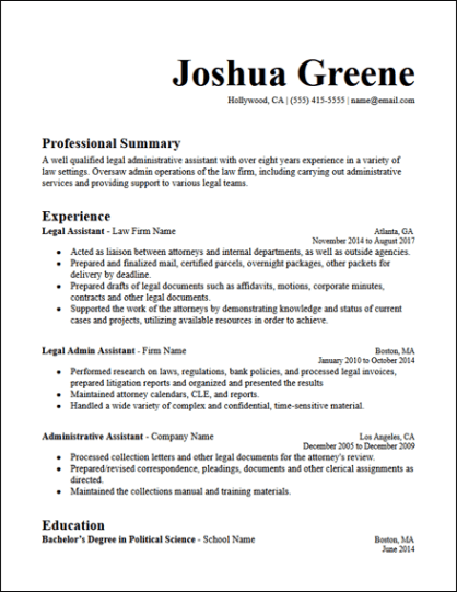 Legal Administrative Assistant Resume Template - HirePowers.net