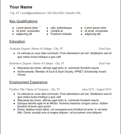 Education Skills Based Microsoft Word Resume Description