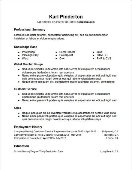 3 column functional skills based google docs resume