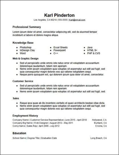 3 Column Functional Skills Based Google Docs Resume Template