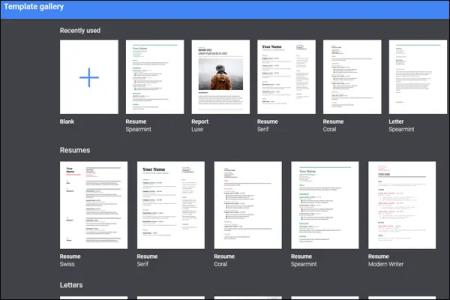google_docs_resume_template_selection
