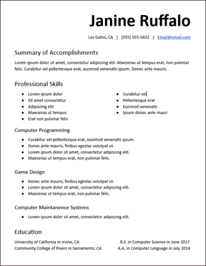 College Education Functional No Experience Resume Template ...