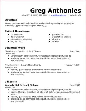high school student no experience google docs resume template