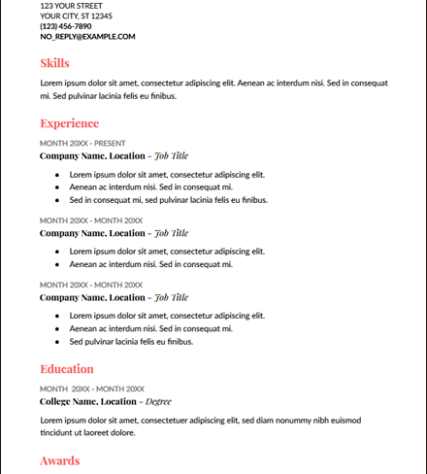 Coral Uses Two Different Fonts Throughout Google Docs Resume Template