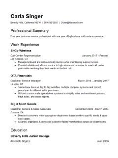 call center customer service representative resume template