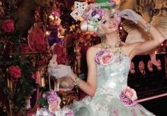 淡いグリーンxピンクのキュートなドレス