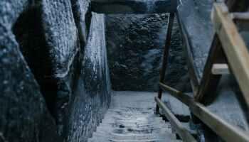 old stone steps in salt mine