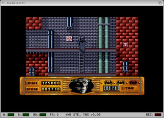 Screenshot of Hatari running the game Batman the Movie at first Level.
