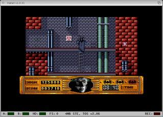 Screenshot of Hatari running the game Batman the Movie at first Level.