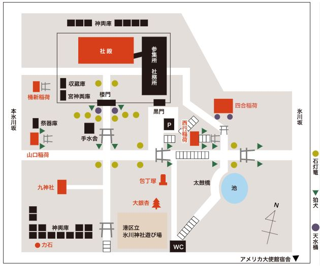 赤坂氷川神社境内マップ