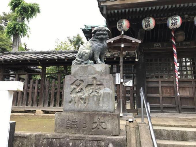 下総野田愛宕神社狛犬左
