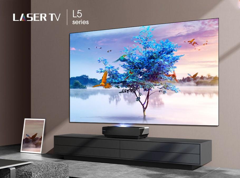 Hisense laser tv in living room
