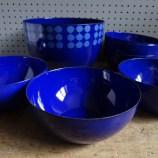 Blue Arabia enamel bowls