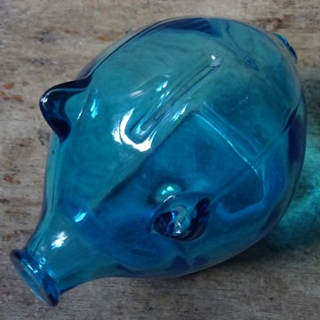 Blue vintage Cascade Glass piggy bank | H is for Home