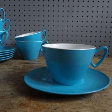 blue melamine cups & saucers
