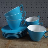 blue melamine cups & saucers