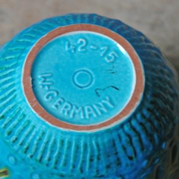 Blue vintage West German vase   H is for Home