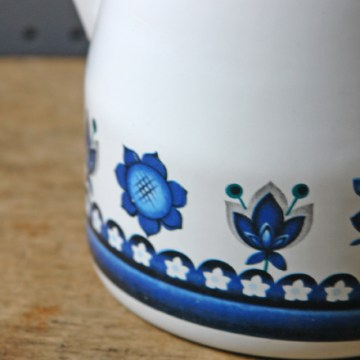 Blue and white enamel coffee pot | H is for Home