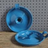 Pair of blue enamel candleholders