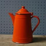 Yugoslavia orange enamel coffee pot