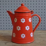 enamel daisy coffee pot