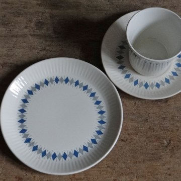 Figgjo Flint diamond pattern trio