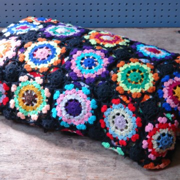 Vintage crocheted granny squares throw | H is for Home