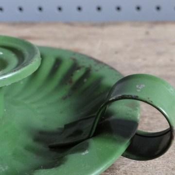 green enamel candleholder